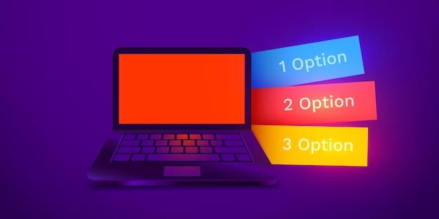 Infografik-design mit realistischem d-laptop-computer mit bunten optionen-tabs-hintergrundbild kann verwendet werden ...