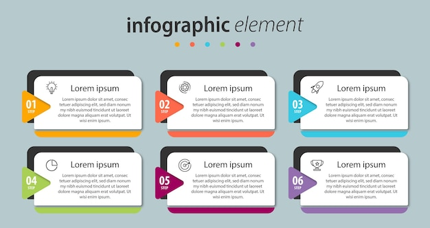 Infografik design präsentationsvorlage mit 6 optionen