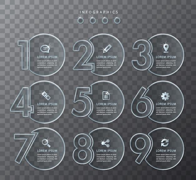 Infografik design transparente glas nummer etiketten und symbole