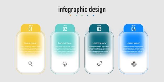 Infografik-design transparente glaseffekt-vorlage mit 4 optionen