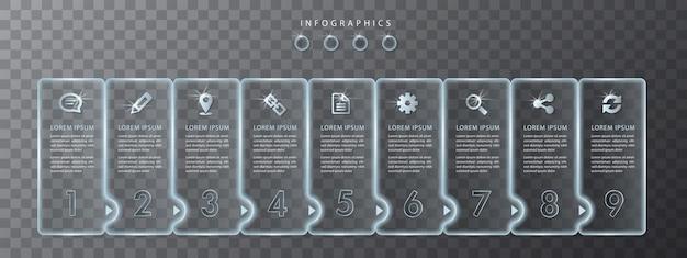 Infografik design transparente glasetiketten und symbole