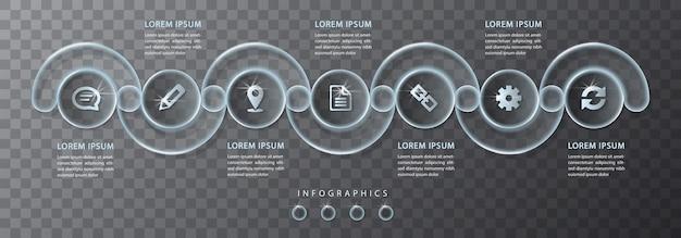 Infografik design transparentes glas runde kreuzrahmen etiketten und symbole