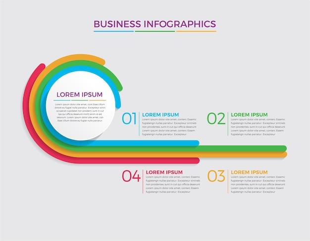 Infografik design und marketing. geschäftskonzept mit 4 optionen, schritten oder prozessen.