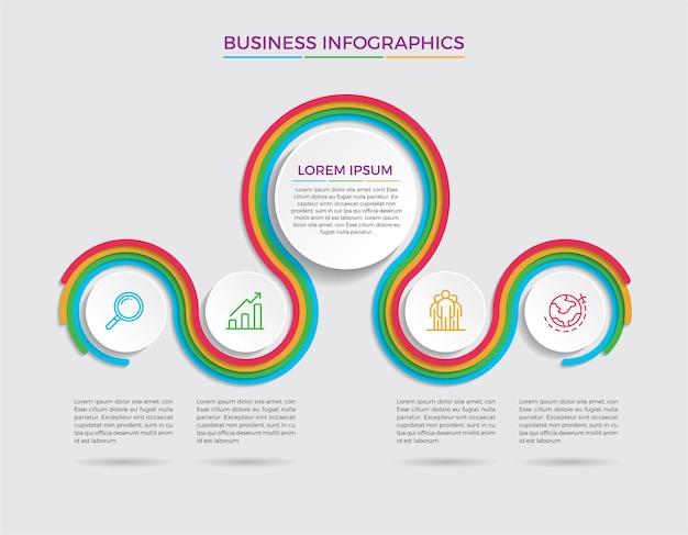 Infografik design und marketing. geschäftskonzept mit 5 optionen, schritten oder prozessen.