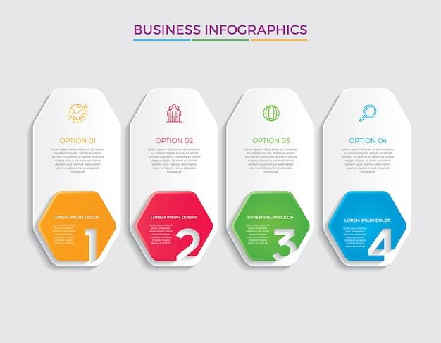 Infografik design und marketing-ikonen. geschäftskonzept mit 4 optionen, schritten oder prozessen.