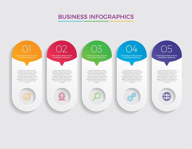 Infografik design und marketing-ikonen. geschäftskonzept mit 5 optionen, schritten oder prozessen.