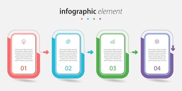 Infografik design vektor mit 4 schrittlinien