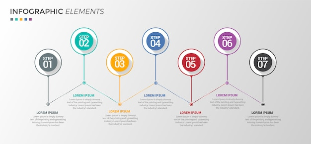 Infografik design-vorlage 7 optionen