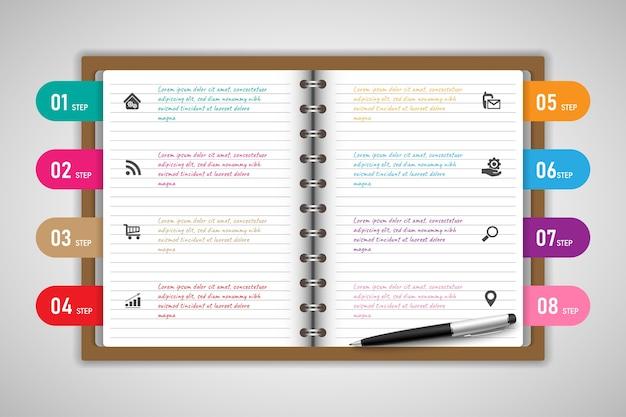 Infografik design vorlage buch mit symbolen