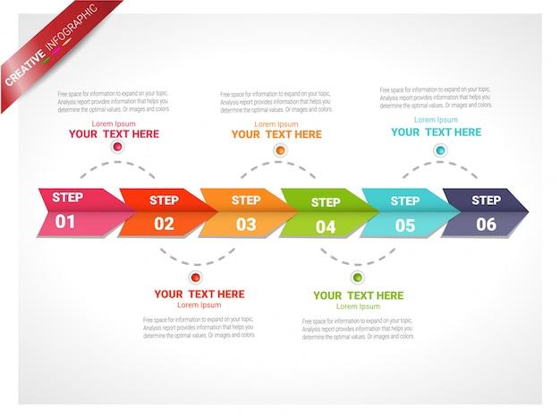 Infografik-design-vorlage mit der option nummer sechs.