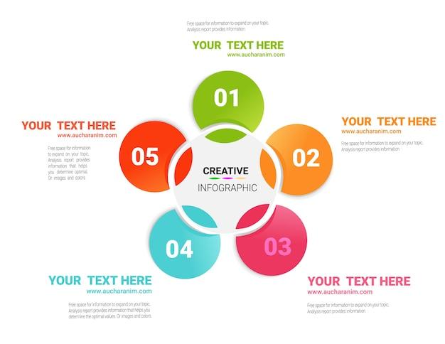 Infografik-design-vorlage mit optionen der nr. 5.