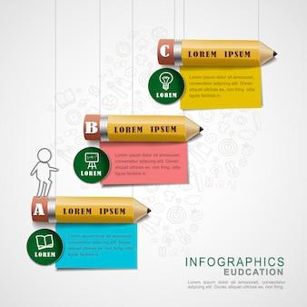 Infografik-designelemente der bildung mit bleistiften und notizpapieren