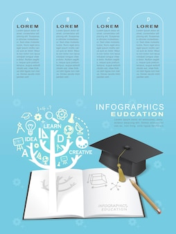 Infografik-designelemente für bildung mit buch- und abschlusskappenelementen