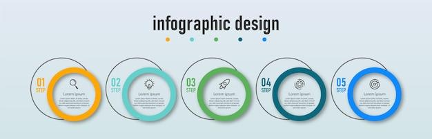 Infografik-designvorlage für präsentationen mit 5 optionen