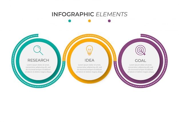Infografik designvorlage mit 3 optionen oder schritten
