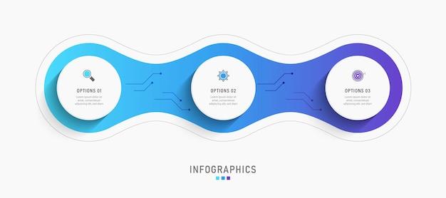 Infografik designvorlage mit 3 optionen oder schritten.