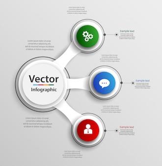 Infografik designvorlage mit 3 optionen, teile
