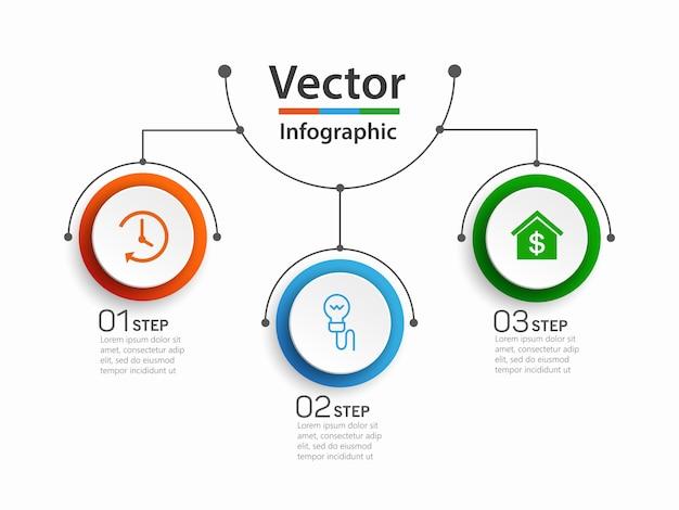 Infografik designvorlage mit 3 optionen