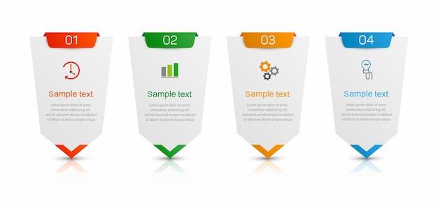 Infografik designvorlage mit 4 optionen oder schritten