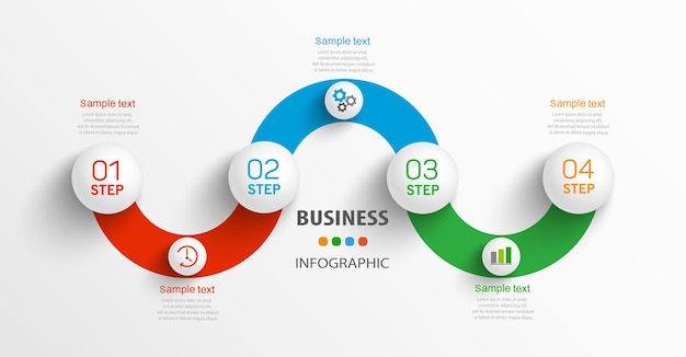 Infografik designvorlage mit 4 schritten
