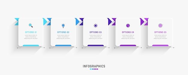 Infografik designvorlage mit 5 optionen oder schritten.