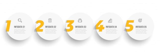 Infografik designvorlage mit optionen oder schritten nummer 5. unternehmenskonzept.