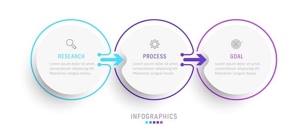 Infografik designvorlage mit symbolen und 3 optionen oder schritten.