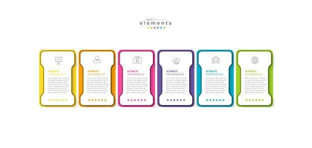 Infografik designvorlage mit symbolen und 6 optionen oder schritten.