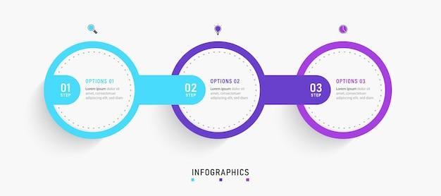 Infografik designvorlage mit symbolen und optionen oder schritten