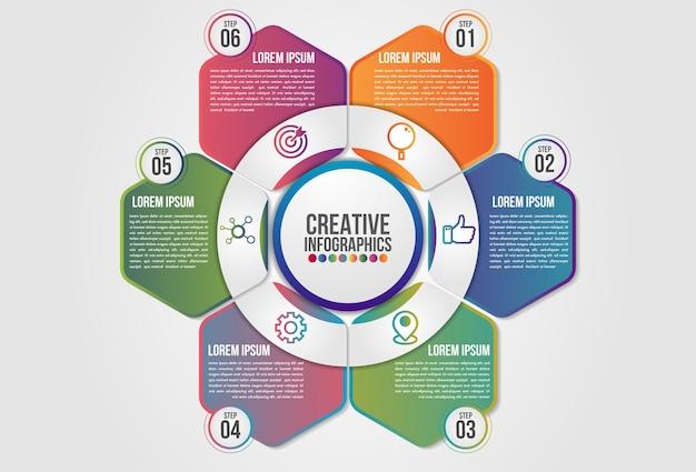 Infografik diagramm 6 schritte optionsvorlage.