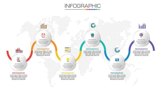 Infografik-diagramm mit geschäftskonzept, 6 optionen können für das geschäftskonzept mit 6 schritten verwendet werden.