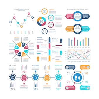 Infografik-diagramme. infochart-elemente, marketing-diagramme und grafiken, balkendiagramme.