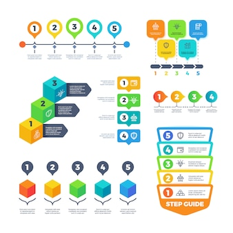 Infografik-diagramme. strategiefinanzdiagramme für geschäftsdarstellung. planungsmenü und zeitachsenvektorsatz