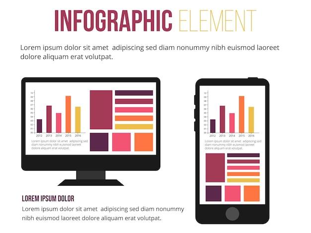 Infografik-element für computer und mobile informationen