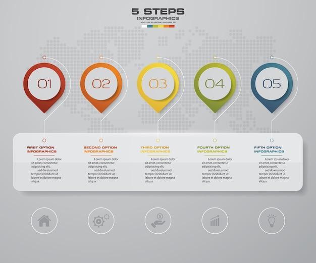 Infografik-element mit 5-schritte-timeline für die präsentation.
