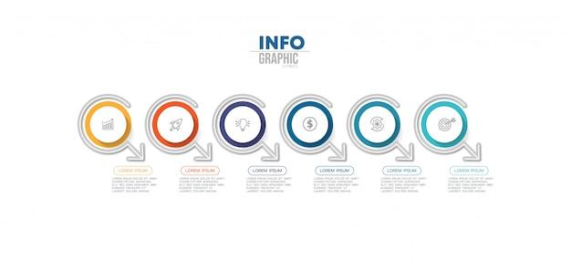 Infografik-element mit 6 optionen oder schritten. kann für prozess, präsentation, diagramm, workflow-layout, infografik, webdesign verwendet werden.