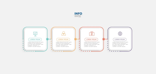 Infografik-element mit symbolen und 4 optionen oder schritten.