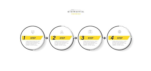 Infografik-element mit symbolen und 4 optionen oder schritten