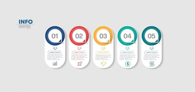 Infografik-element mit symbolen und 5 optionen oder schritten.