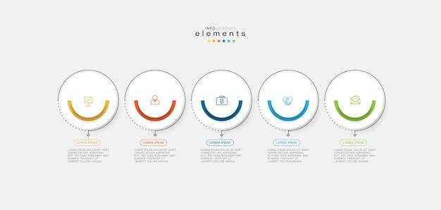 Infografik-element mit symbolen und 5 optionen oder schritten