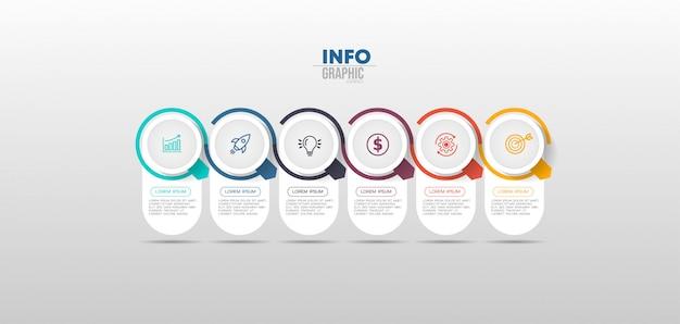 Infografik-element mit symbolen und 6 optionen oder schritten.