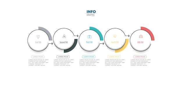 Infografik-element mit symbolen und optionen oder schritten.