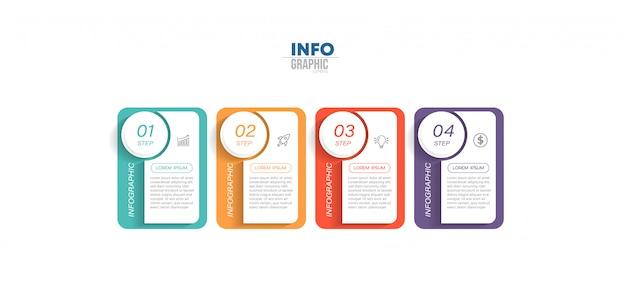 Infografik-element mit symbolen und vier optionen oder schritten. kann für prozess, präsentation, diagramm, workflow-layout, infografik, webdesign verwendet werden.