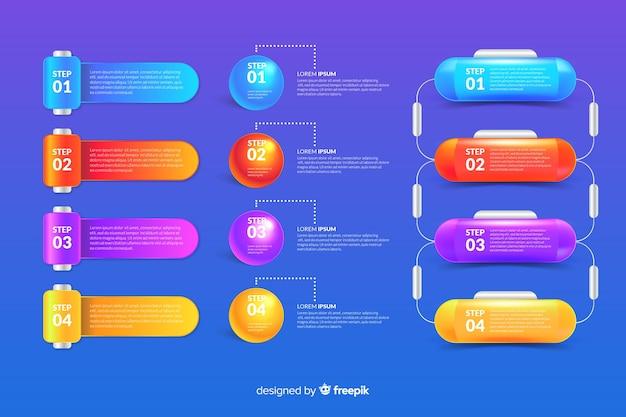 Infografik-elemente-auflistung in realistischen glänzenden stil