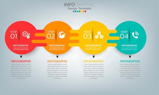 Infografik-elemente der geschäftszeitleiste mit 5 optionen oder schritten