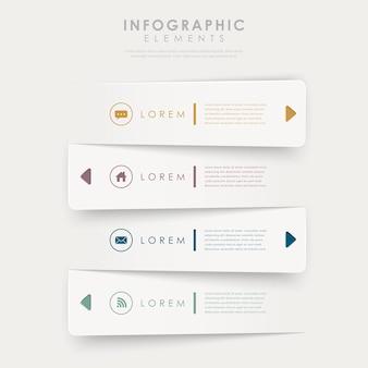 Infografik-elemente der modernen designfahnenschablone lokalisiert auf weiß