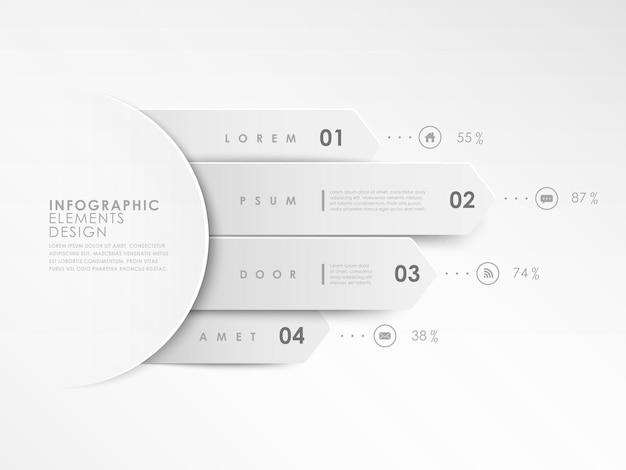 Infografik-elemente der modernen weißen designfahnenschablone