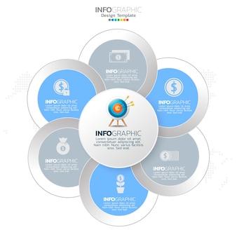 Infografik-elemente des geschäftskreises mit 6 optionen oder schritten.