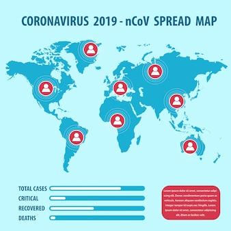 Infografik-elemente des neuen coronavirus. covid-19-verbreitungskarte