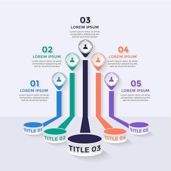 Infografik-elemente flache farben, die errungenschaften mit 5 optionen bewerten